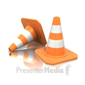 ID# 3577 - Construction Cone Pair - Presentation Clipart