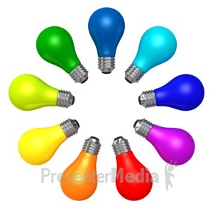 ID# 3579 - Light Bulb Color Array - Presentation Clipart