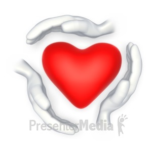 ID# 3583 - Hands Around Heart Shape  - Presentation Clipart