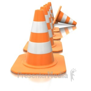 ID# 3586 - Construction Cone Line Tip Over - Presentation Clipart