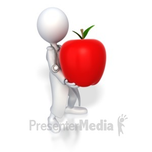 ID# 3591 - Doctor Holding Apple - Presentation Clipart