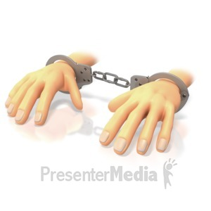 ID# 3604 - Hands In Handcuffs  - Presentation Clipart