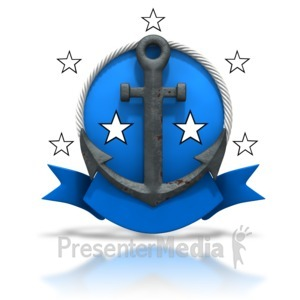 ID# 3605 - Rusty Anchor Badge Stars - Presentation Clipart