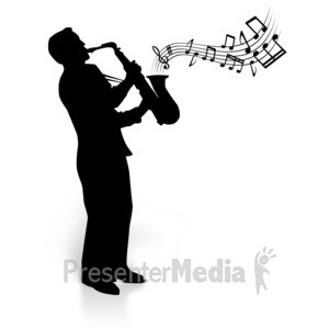 ID# 3612 - Silhouette Saxophone Player Notes - Presentation Clipart