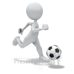 ID# 3622 - Stick Figure Dribbling Soccer ball - Presentation Clipart