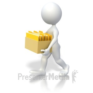 ID# 3629 - Carrying Box Of Files  - Presentation Clipart