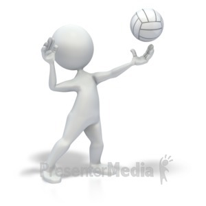 ID# 3639 - Stick Figure Serve Volleyball - Presentation Clipart