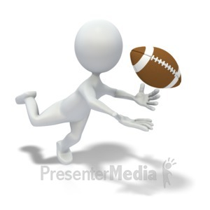 ID# 3654 - Stick Figure Catching Football Pass - Presentation Clipart