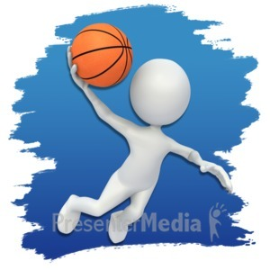 ID# 3658 - Stick Figure Basketball Icon - Presentation Clipart