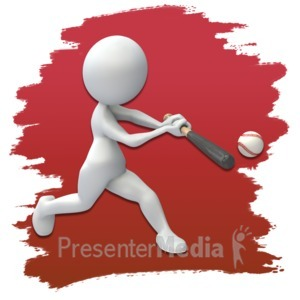 ID# 3662 - Stick Figure Baseball Icon - Presentation Clipart