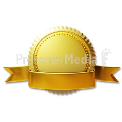 Gold Seal Ribbon PowerPoint Clip Art