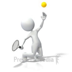 ID# 3686 - Stick Figure Tennis Serve - Presentation Clipart