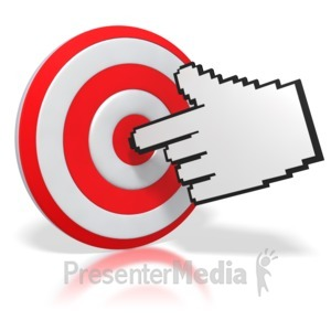 ID# 3714 - Mouse Finger Pointing a Bullseye - Presentation Clipart