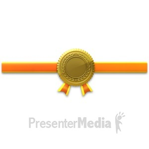 ID# 3759 - Gold Seal Horiztonal Ribbon - Presentation Clipart