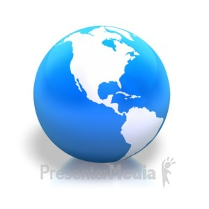 ID# 3770 - Earth Americas Blue Shiny - Presentation Clipart