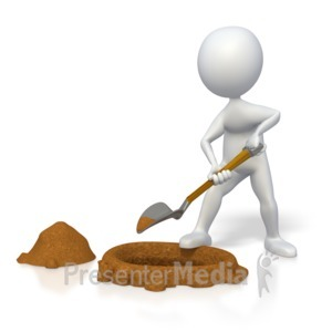 ID# 3788 - Stick Figure Digging a Hole  - Presentation Clipart