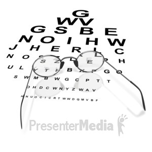ID# 3798 - Glasses on Eye Chart  - Presentation Clipart