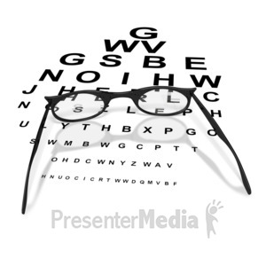 ID# 3799 - Womens Glasses with Eye Chart  - Presentation Clipart