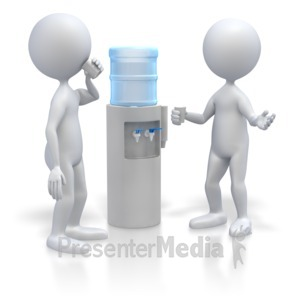 ID# 3800 - Stick Figures At Water Cooler  - Presentation Clipart
