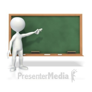 ID# 3803 - Stick Figure At Chalk Board  - Presentation Clipart