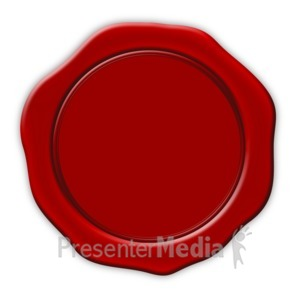 ID# 3807 - Wax Stamp Blot Seal  - Presentation Clipart