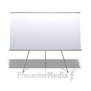 ID# 3809 - Blank Whiteboard On Stand - Presentation Clipart