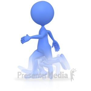 ID# 3823 - Stick Figure Running Fast  - Presentation Clipart