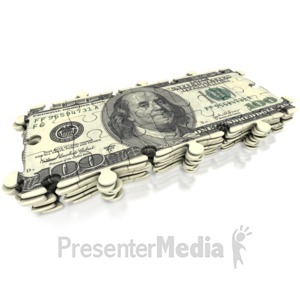 ID# 3828 - 100 Dollar Puzzle Stack - Presentation Clipart