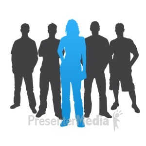 ID# 3840 - Woman Leader Casual Silhouette - Presentation Clipart