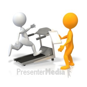 ID# 3845 - Training Runner on Treadmill - Presentation Clipart