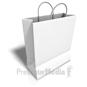 ID# 3873 - Empty White Shopping Bag - Presentation Clipart