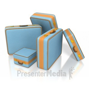 ID# 3904 - Vintage Travel Suitcases - Presentation Clipart