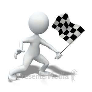 ID# 3917 - Stick Figure Waving Checkered Flag - Presentation Clipart
