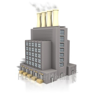 ID# 3948 - Factory Building Smoke Stack - Presentation Clipart