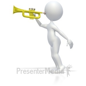 ID# 3959 - Stick Figure Playing Trumpet - Presentation Clipart