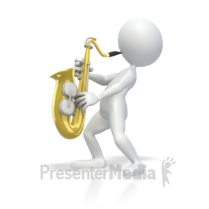 ID# 3970 - Stick Figure Playing Saxophone - Presentation Clipart