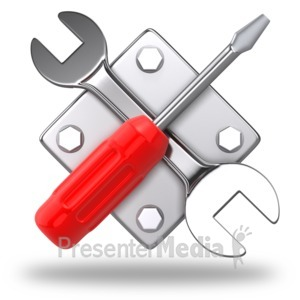 ID# 4028 - Work Tools Criss Cross Icon - Presentation Clipart