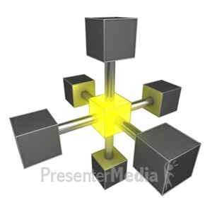 ID# 4051 - Connected Central Glowing Boxes - Presentation Clipart