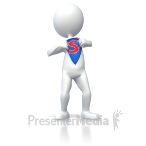 ID# 4149 - Superhero Stick Figure  - Presentation Clipart