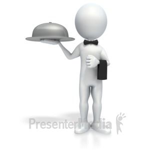 ID# 4151 - Stick Figure Waiter - Presentation Clipart