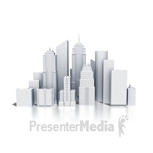 ID# 4153 - City Downtown Buildings Monotone - Presentation Clipart