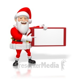 ID# 4246 - Santa Pointing at Small Blank Sign - Presentation Clipart