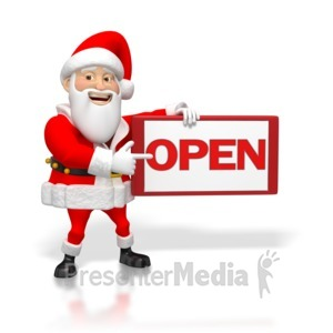 ID# 4247 - Santa Pointing at an Open Sign - Presentation Clipart