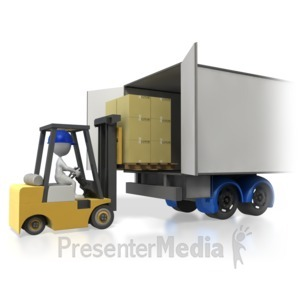 ID# 4258 - Forklift Loading Truck Trailer - Presentation Clipart