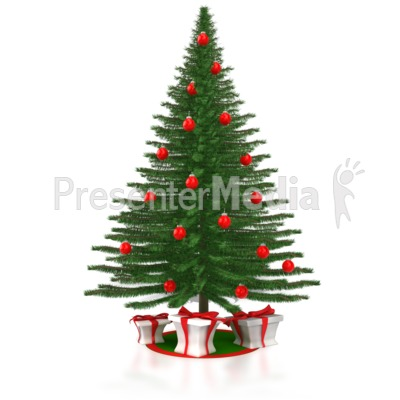 A Christmas Tree with Presents PowerPoint Clip Art