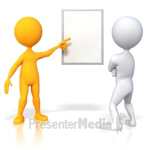 ID# 4269 - Orange Stick Figure Showing Chart  - Presentation Clipart