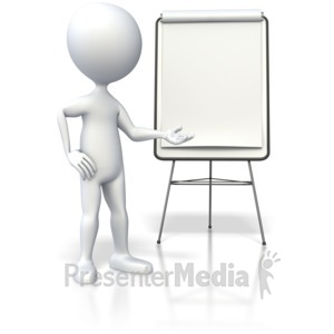 ID# 4345 - Stick figure Showing Flipboard  - Presentation Clipart