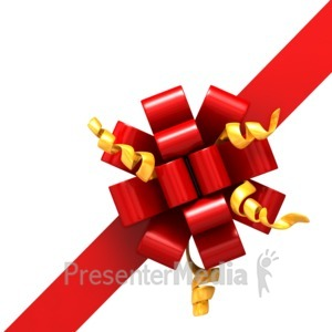 ID# 4347 - Right Corner Ribbon- Bow Part 2 - Presentation Clipart