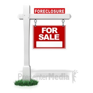 ID# 4408 - Single Real Estate Bank Foreclosure Sign - Presentation Clipart