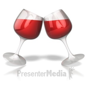 ID# 4449 - Wine Glass Toast Celebration  - Presentation Clipart